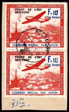 "Occupation of France - 1942 - ""Air mail F+ 10 Fr. carmine/blue with overprint Eastern Front"" in pair on letter pieces with platine error II and V, Michel V"