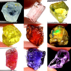 Lot of Aquamarine, Tourmaline, Sapphire, Garnet, Opal, Ruby, Iolite and Amethyst - 45.80ct (9)