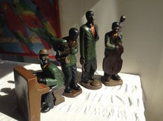 4 ceramic jazz musicians, new orleance club xx century