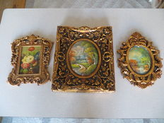 Three paintings in gold-coloured Baroque display frame