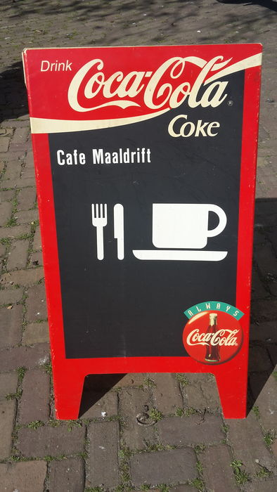 Foldable pavement sign - Coca Cola - ca 1980
