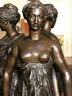 After Germain Pilon (1520-1590) - a superb patinated bronze rendition of the Three Graces - 19th century