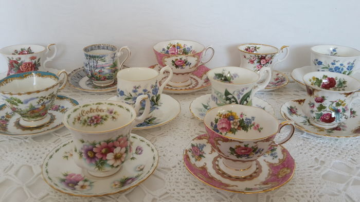 Collection of eleven Vintage Royal Albert cup and saucers made around 1960