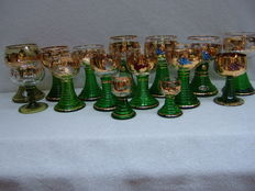 A lot of 15 Roomer glasses, 24 carat gold plated
