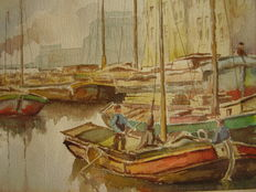 Probably Henk Hoefman (20th century)-sailing boats in a harbour