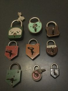 Ten padlocks, from the 60/70s