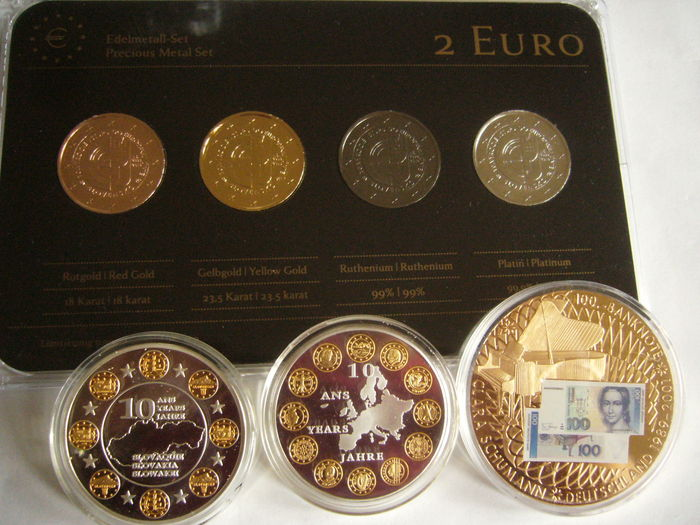 Slovakia - 2 Euro 'Accession to the EU' 2014 (4 plated coins) Precious Metal Set + 3 medals