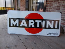 Beautiful enamel advertising sign for Martini in a rare format