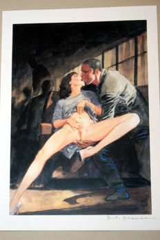 Manara, Milo, signed, erotic scene in public