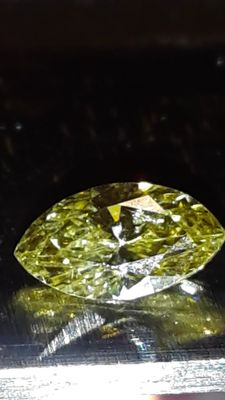 Intense olive green diamond, colour commonly identified as Chameleon, 0.39 ct