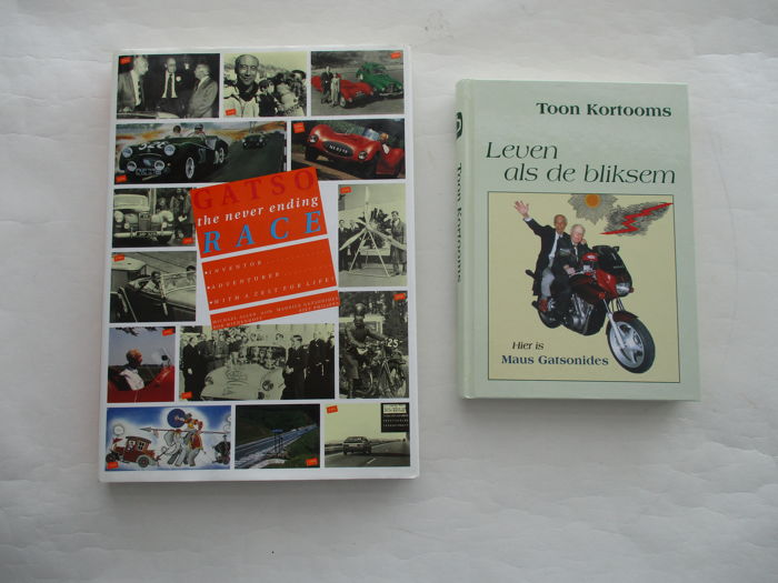 Maus Gatsonides - 2 books of which 1 is signed - book GATSO the never ending race and Leven als de bliksem