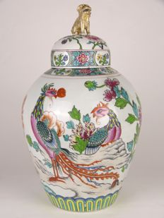 Edmé Samson Paris - large porcelain Famille Rose lidded ginger jar