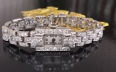 Beautiful platinum Art Deco watch - link bracelet – with diamonds, approx. 5.30 ct, G / VS/SI