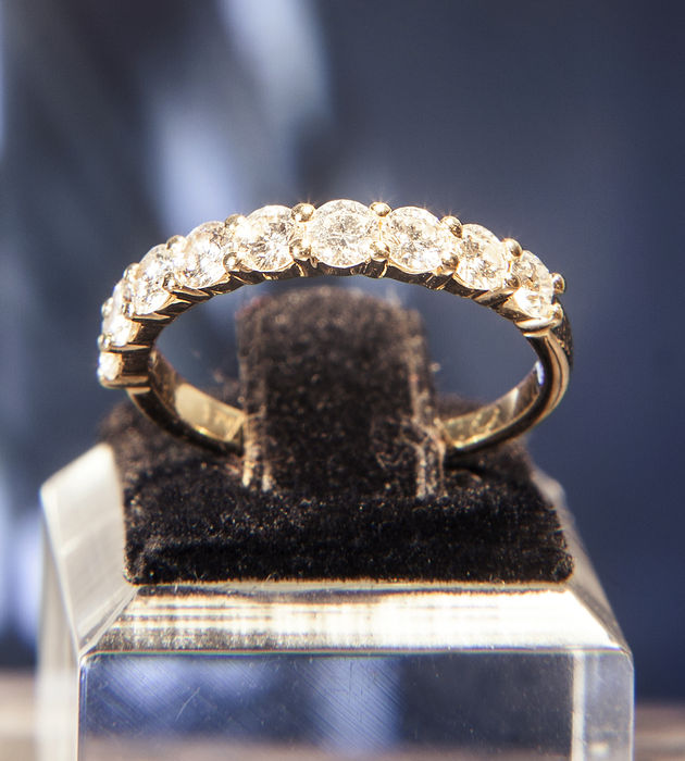 18K Gold Memory / Memoire  Ring with 9 Diamonds of c. 0.9 ct  RS 53/ 17mm ∅ / US 6,5-7