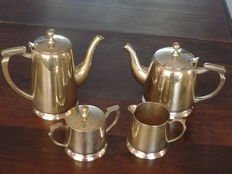 Silver plated coffee and tea serving set - Belgium-early 20th century.