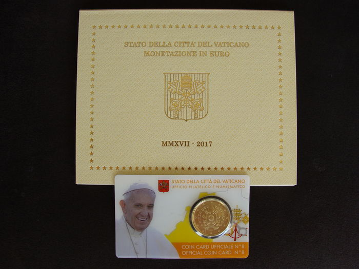 "Vatican – Year pack/ year collection + 50 cents Coin card 2017, ""Papal Coat of Arms"" (2 pieces)."