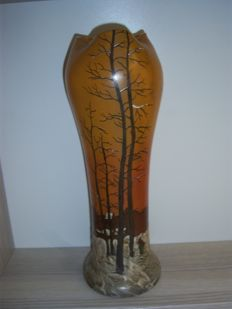 Legras & Cie - large vase with enamelled winter landscape