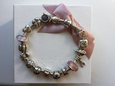 925 Silver Pandora bracelet with charms, length: Width: 22 cm