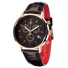DETOMASO Milano Men's Watch Chronograph Gilded Black Dial Leather Strap New