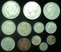 Bulgaria - 5 Stotinki up to and including 100 Leva 1888/1941 (12 coins) Including 7x silver