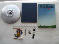 Volkswagen lot of 8 items - Clock, books, emblem, keychains and pocket knife