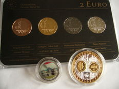 Luxembourg - 2 Euro '175 Years of Independence' 2014 (4 plated coins) Precious Metal Set + Luxembourg Medal and 2 Euro colored