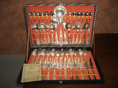 Antique 800 silver plated cutlery marked Vintage + certificate + original box, all new