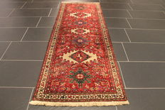 Rare antique Persian carpet Heriz Karadja 1930, natural colours, made in Iran 70 x 190 cm