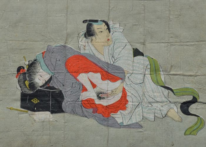 An original erotic Shunga attributed to the Utagawa school – Japan –  ca. 1850