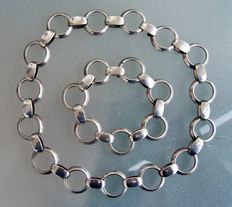Silver necklace and bracelet from Sweden by ALTON