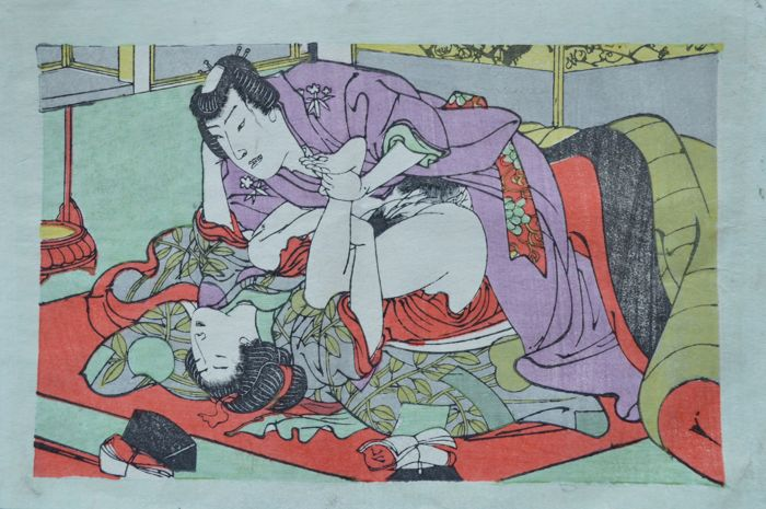 Original erotic Shunga attributed to the Utagawa school – Japan – ca. 1890