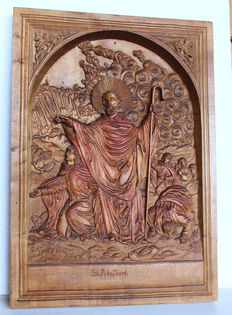 St. Adalbert wood carving - figural holy depiction - Germany/Austria - ca 1880