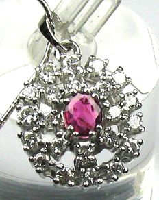 14kt / 585 white gold - 0.62 ct diamonds - 0.60ct. Ruby, length max. 47.0cm.