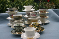 16 English cups and saucers