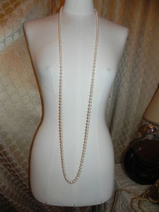 XXL Akoya pearl necklace, genuine salt water pearls, 136 cm, diameter approx. 7.4 mm
