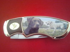 Franklin mint pocket knife, collectors knife with image of labradors