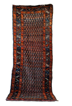 Hand knotted hall rug with a remarkable optic effect, around 1900.