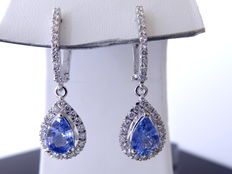 Earrings with sapphires 1.70 ct and 60  brilliant cut diamonds   total 0.50 ct Jewelry certificate