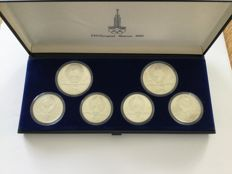 Russia 2 x 10 rouble, 4 x 5 rouble Olympic games 1980 in Moscow - silver