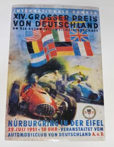 Sheet Metal Sign: XIVth Great Prize of Germany 1951 40 x 60cm