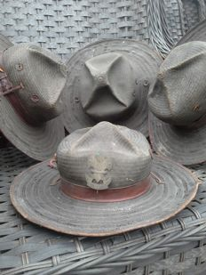 4 KNIL bamboo hats – Indonesia