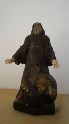 Papier-mâché and wood statuette of St. Francis of Paola -Italy - 19th century