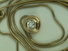 14k gold diamond pendent with 14k snake necklace 49cm