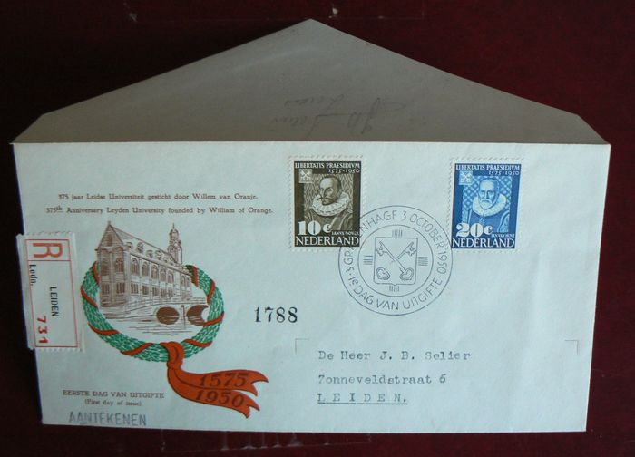 The Netherlands 1950 – First Day Cover from Leiden University