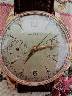 Zenith men's wristwatch in 18 kt gold Very rare model / hard to find