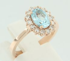 14 kt rose gold entourage ring with topaz and 14 single cut diamonds - ring size 16.5 (52)
