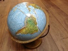 Reader's Digest globe with a relief map