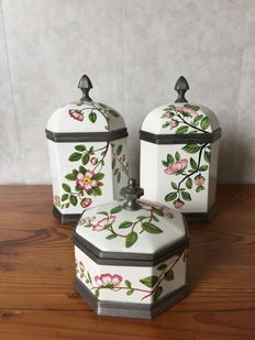 3 Porcelain spice jars finished with tin - Decorato a Mano - Costa
