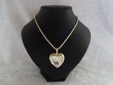 925 silver heart medallion with 925 silver cord necklace – length of necklace: 45.5 cm