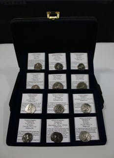 Greek Antiquity - Lot of 12 Silver Dracms and Tetradrachm - Parthia and Indo Scythians Kingdoms - Different Kings and mint - In an elegant box